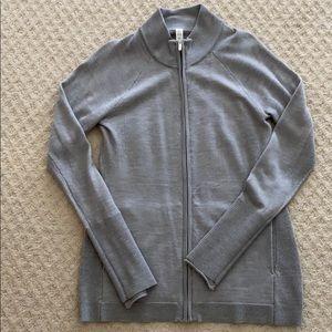 Lululemon 100%merino wool gray knit  full zip